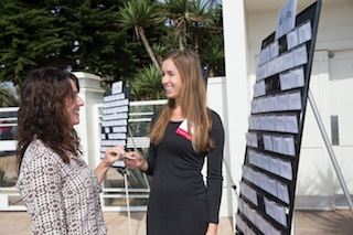 event hosting focus on guest with name badge display board