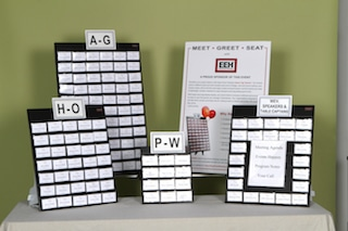 how to organize name badges in alphabetical groupings on separate display boards