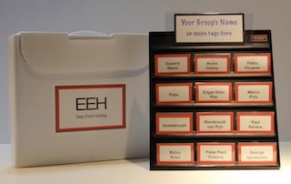 lobby event hosting name badge display board