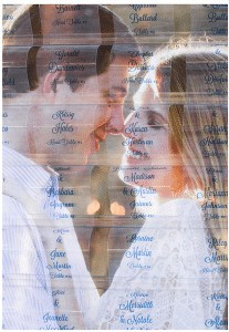 closeup of happy couple embracing showing through transparent name tags on wedding name badge organizer