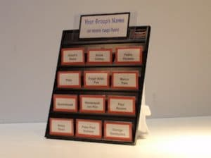 event hosting table version of name badge display board