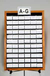 oak frame name badge display board with header for event hosting