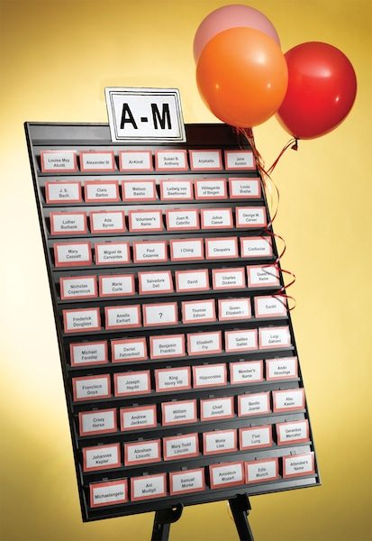 product large name tag tamer with balloons and name badge display