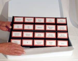 setting up name badge cases is a breeze table top edition